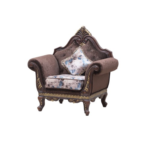 1 Seater Polish Colour Dark Brown, Polish Pu, Fabric Colour Dark Grey, Fabric Velvet