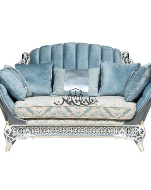 2 Seater Teak wood hand carved sofa blue white pearl polish with golden lining high-end suede upholstery table blue onyx top