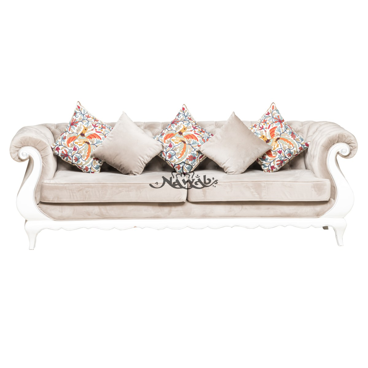 3-seater-teak-wood-frame-hand-carved-velvet-upholstery-white-and-silver-high-gloss-polish-even-at-borders-ethnic-embroidery-cushions