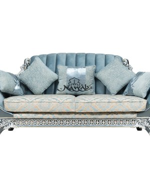 3 Seater Teak wood hand carved sofa blue white pearl polish with golden lining high-end suede upholstery table blue onyx top
