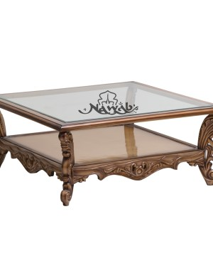 Champagne golden pu polish velvet and jacquart upholstery centre table with glass top handcarved customised carving