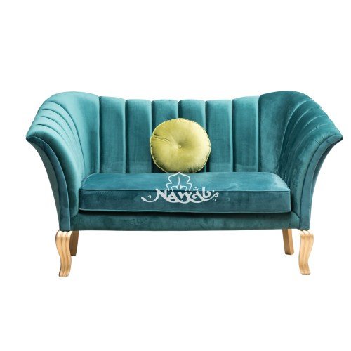 2 Seater Royal green Velvet wooden legs with golden pu finish centre table pu finish onex marble brass lines  plated on the sides polyester polish teak board