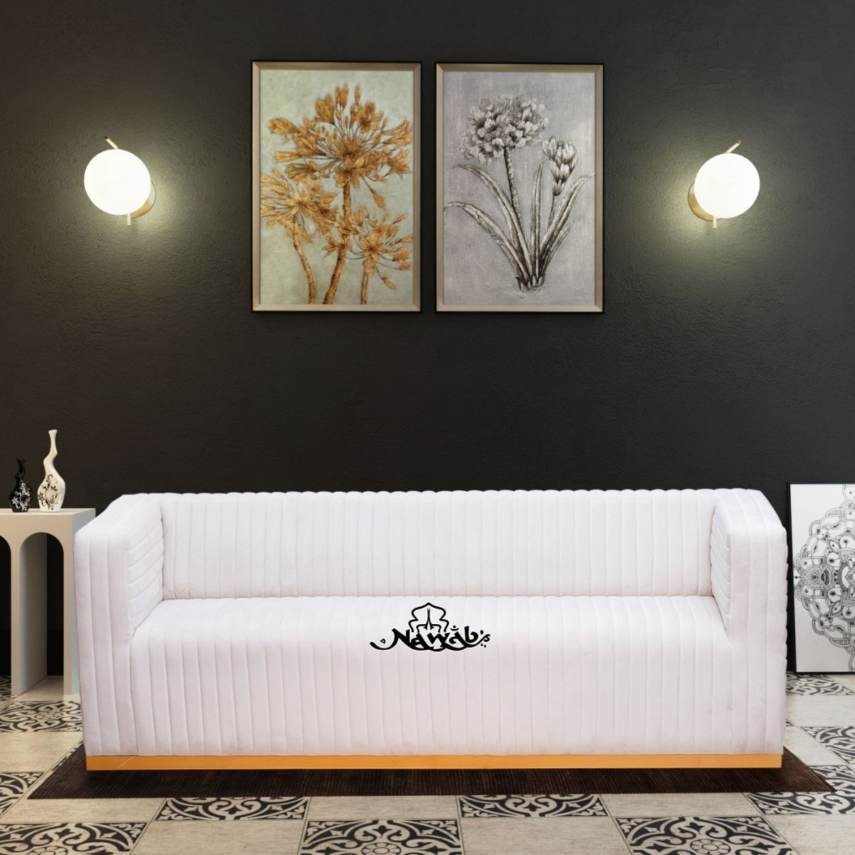 Suede-fabric-wooden-frame-with-foam-padding-teak-wood-legs-backgground