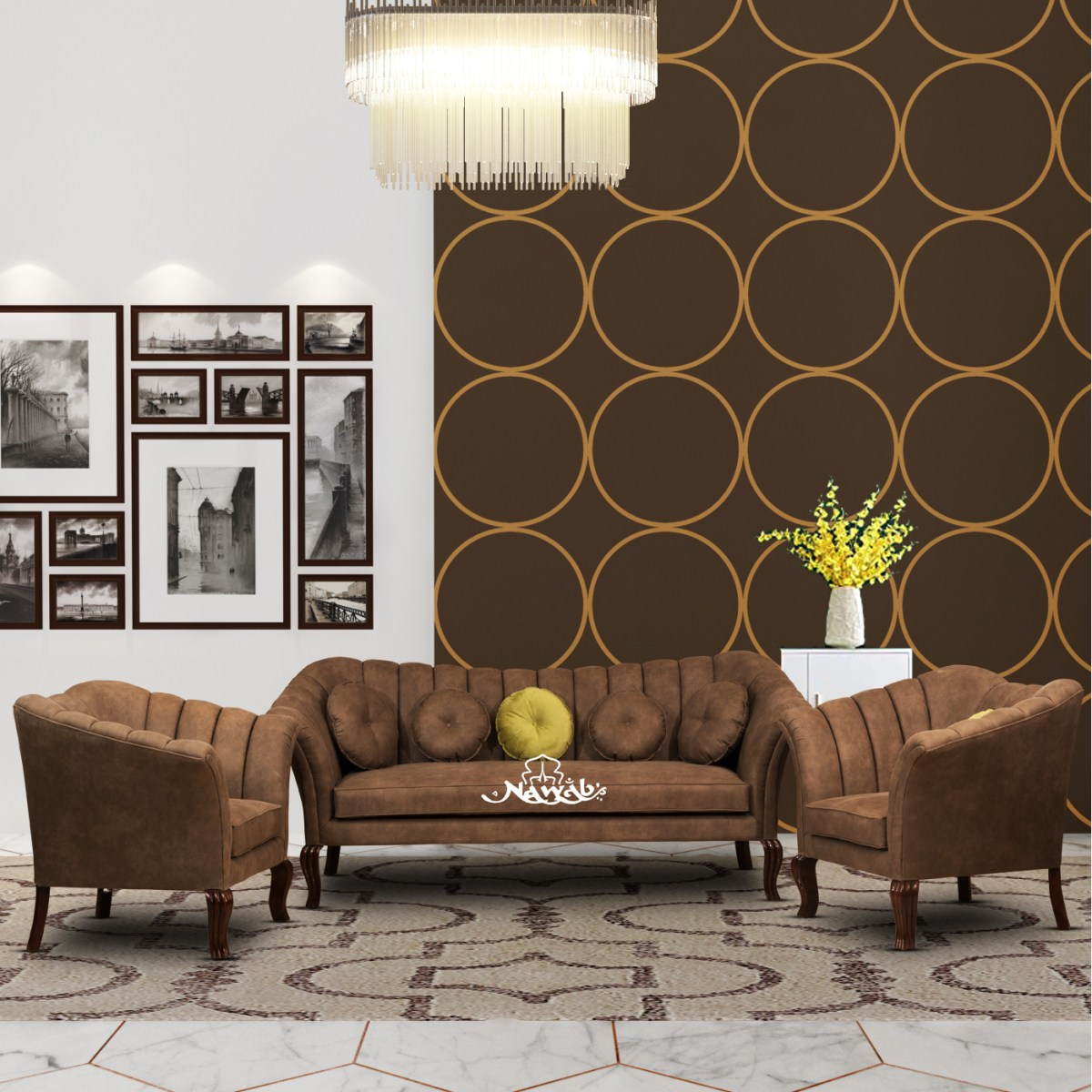 Suede-fabric-wooden-frame-with-foam-padding-teak-wood-legs-background