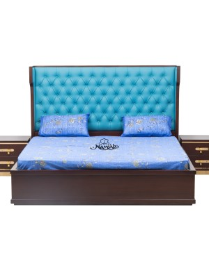 Wallnut Matt polish brass handles Leatherite upholstery laminated inside hydraulic bed Chanel pull out drawers