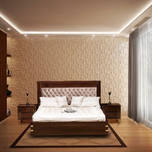 Wallnut-PU-polish-brass-strips-velvet-upholstery-laminated-inside-hydraulic-bed-Chanel-pull-out-drawers-background