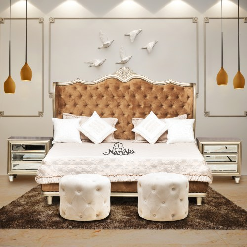 classical bed champagne polish hydraulic bed inside laminate velvet upholstery in headboard and footboard bedside table champagne polish with looking mirror finish push sketcher