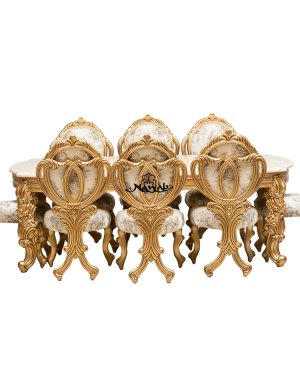 Golden pu polish solid wooden teak with carving velvet pattern fabric dining