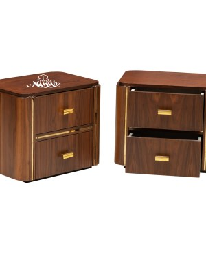 Rosewood grained veneer brass strips brass handles suede upholstery laminated inside hydraulic bed  Chanel pull out drawers