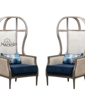 Teak wood frame distress finish suede upholstery blue and beige
