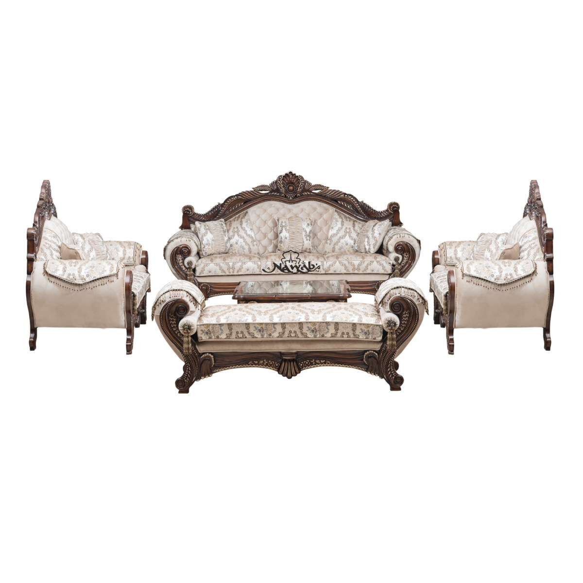 wallnut-pu-polish-solid-wooden-teak-with-carving-velvet-pattern-fabric-set