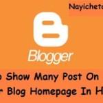 ब्लॉग के होम पेज पर 10 पोस्ट कैसे दिखाए ? How to Show Many Post On Blog Homepage