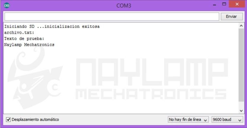 Monitor Serial Lectura SD