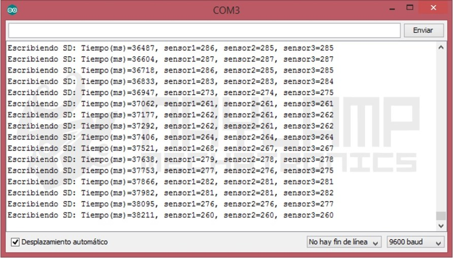 Monitor Serial datalogger arduino SD