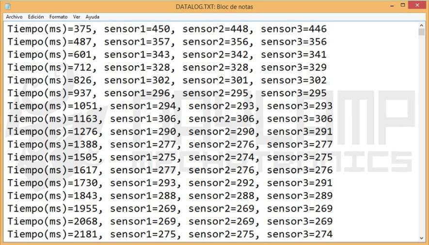 archivo txt datalogger arduino SD