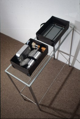 Device for Making Soap Paintings, 1989, brush, glass, soap, aluminum, and glass, 41 x 12 x 36 inches