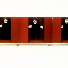 Puppets, 1990, hand puppets, silk, and boxes, 15 x 96 x 8 inches