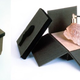 Head, 1990, cast resin, perfume, metal in Japanese silk box, 7 x 6 x 7 inches