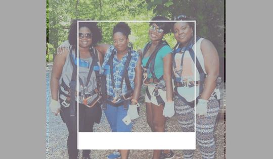 black plus size women zip lining adventure