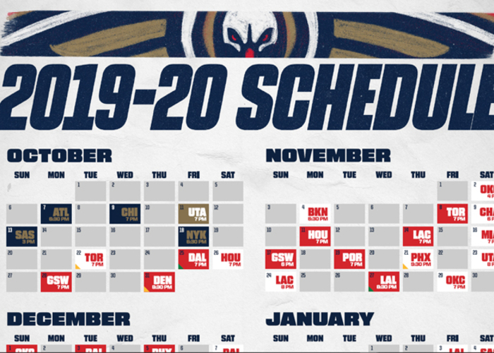 Download A Printable Pelicans 2019 20 Schedule New Orleans