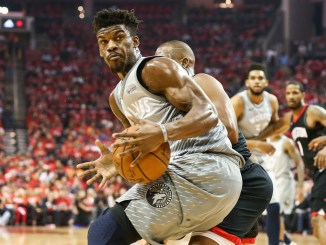 Apr 18, 2018; Houston, TX, USA; Minnesota Timberwolves guard Jimmy Butler (23) controls the ball as Houston Rockets guard Chris Paul (3) defends during the first quarter in game two of the first round of the 2018 NBA Playoffs at Toyota Center. Mandatory Credit: Troy Taormina-USA TODAY Sports