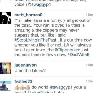 Imagen del comentario de Matt Barnes entre los de la afición de los Lakers.