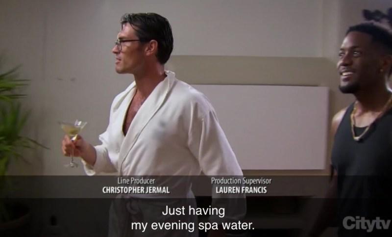 PHOTO Bennett On The Bachelorette Drinking Green Spa Water
