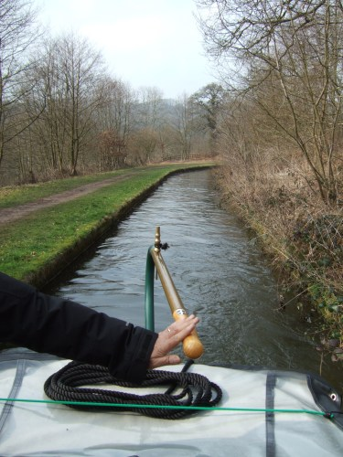 Just to show how narrow the canal is in places along this stretch. We are glad not to meet any other boats. We have been told we are the first to pass this way after the winter. There are many moored boats, but apart from some working boats nothing moving yet.
