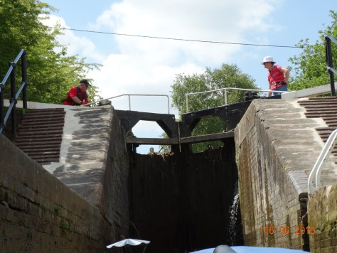 Travelling up the triple staircase with a lock keepers help