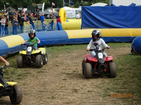 and finally grandchildren on quad bikes. One of the many attractions they tried at the funfair