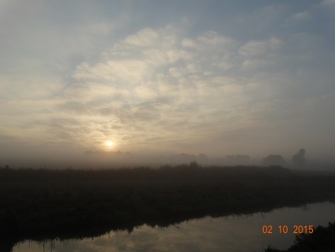 Misty morning sunrise in Upper Heyford