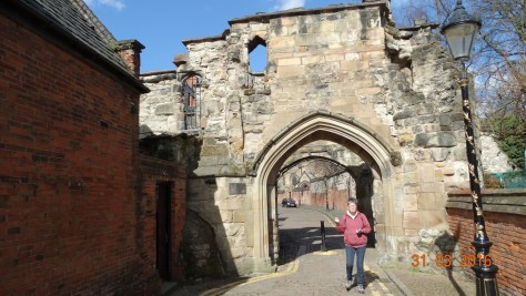 Turret gateway probably built in 1423. It separated the Newarke religious precinct from Leicester castle. Richard would have used this gateway when visiting the castle. It is possible that following his death his body would have been brought into the precinct through this gateway.