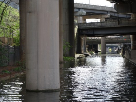 More spaghetti junction photos. Note the columns from the roadways in the canal.
