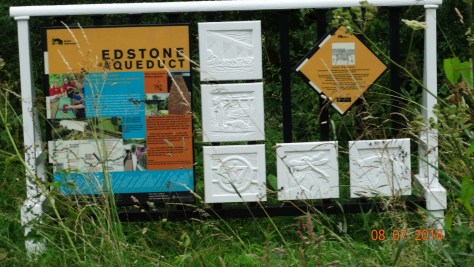 Sign showing information on the aquaduct. There have been many of these signs along the way giving the history of the canal and surrounding area.