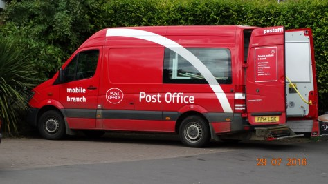 and here it is the mobile post office, that comes daily to Wilmcote. Why can't other areas adopt this practice as it is such a good idea and would save money on building rent.