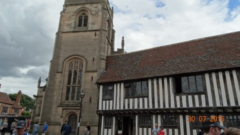 The tower of the Guild Hall with the grammar school next to it where Shakespeare would have continued his learning