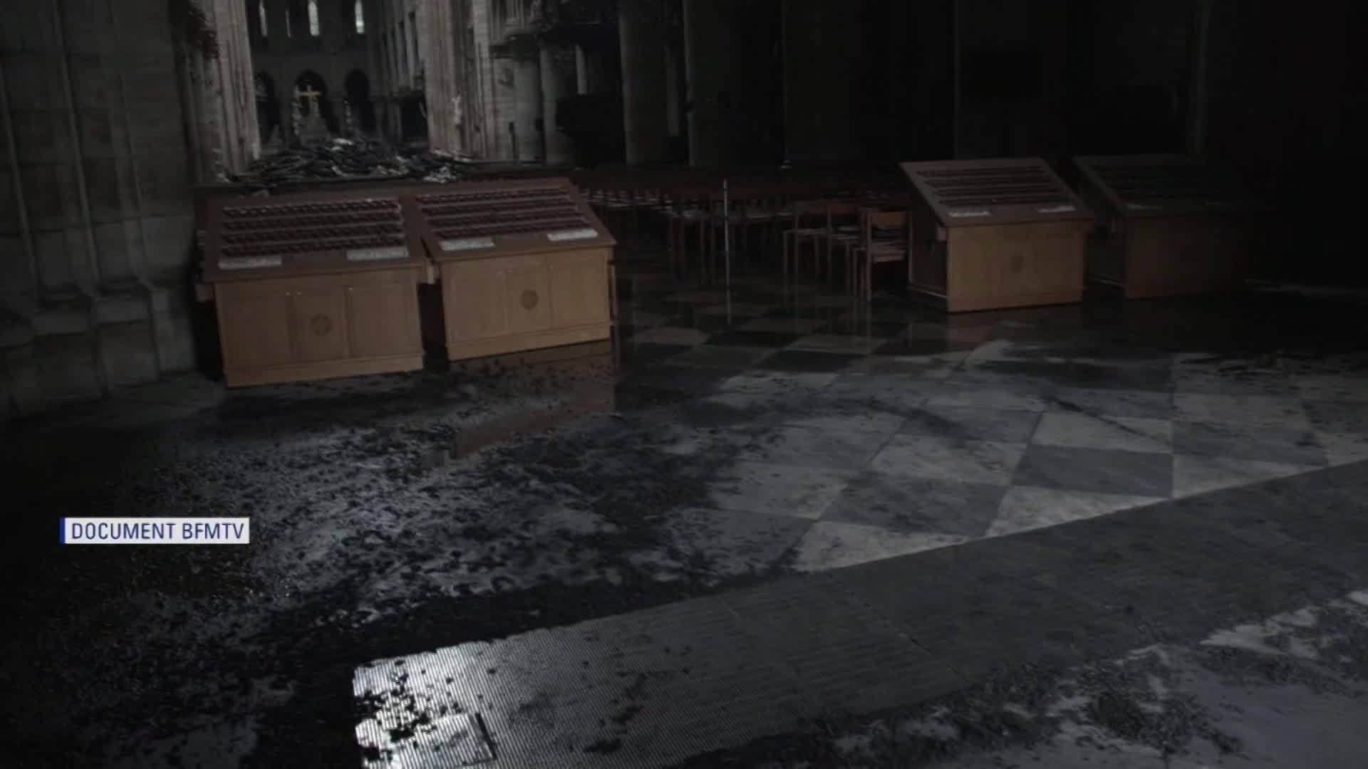First images inside Notre Dame Cathedral show damage after