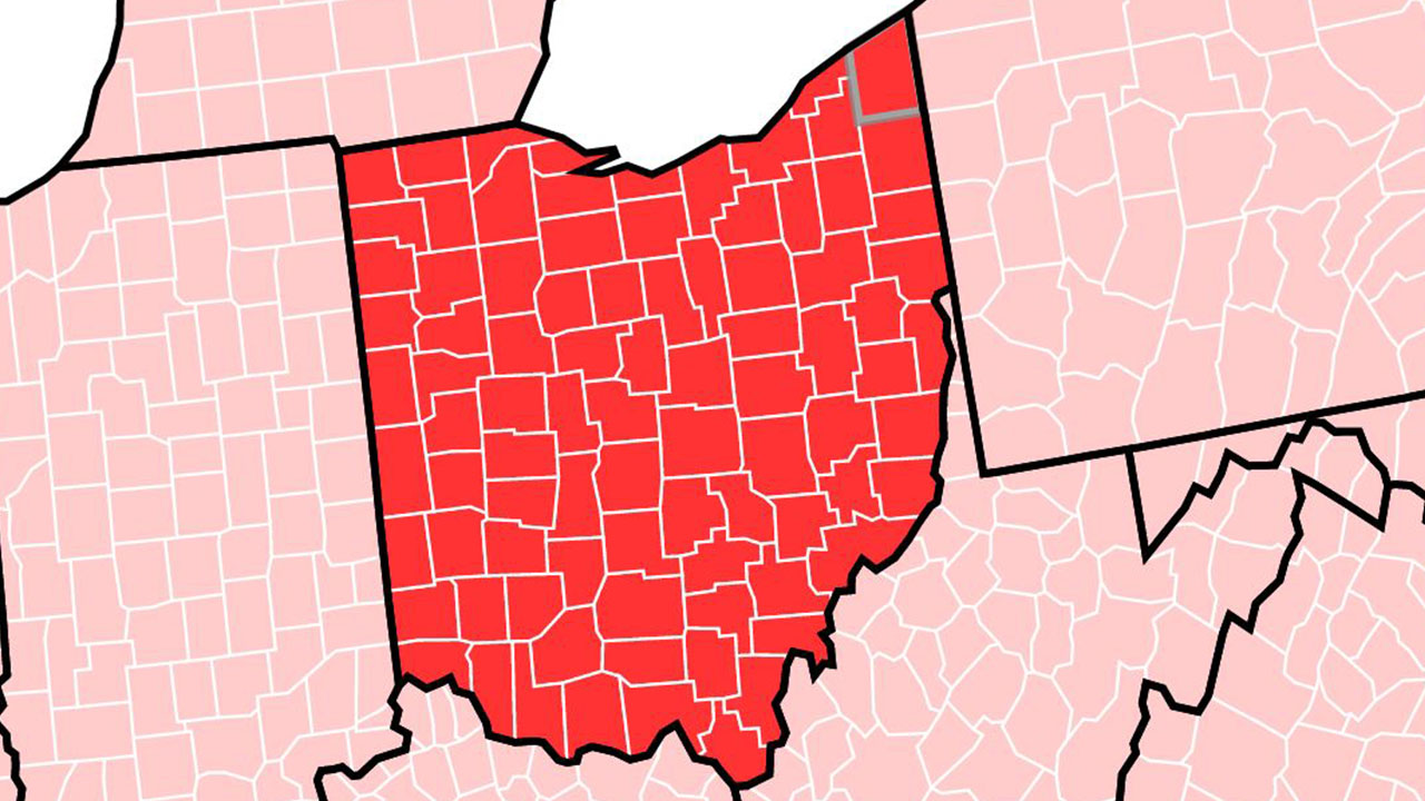 ohio cdc all red high covid transmission map