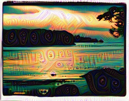 Terrace Beach sunset botanical deep dream