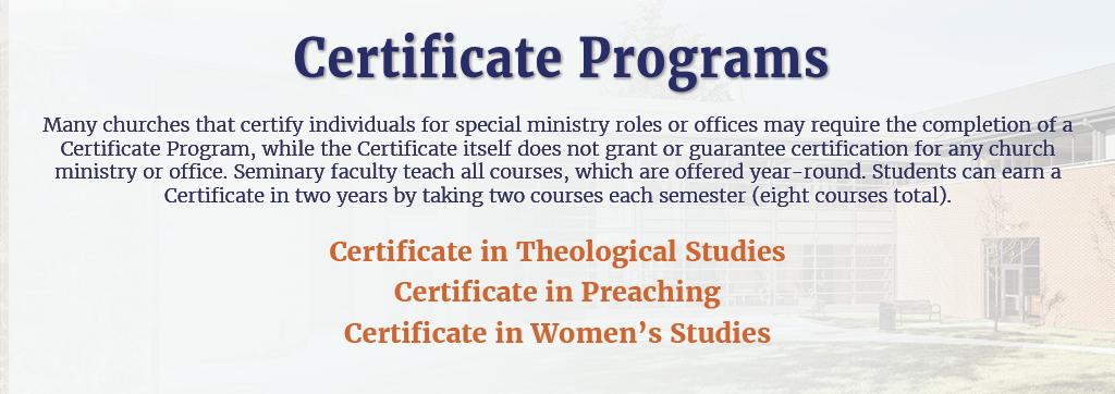 Certificate Program New Brunswick Theological Seminary