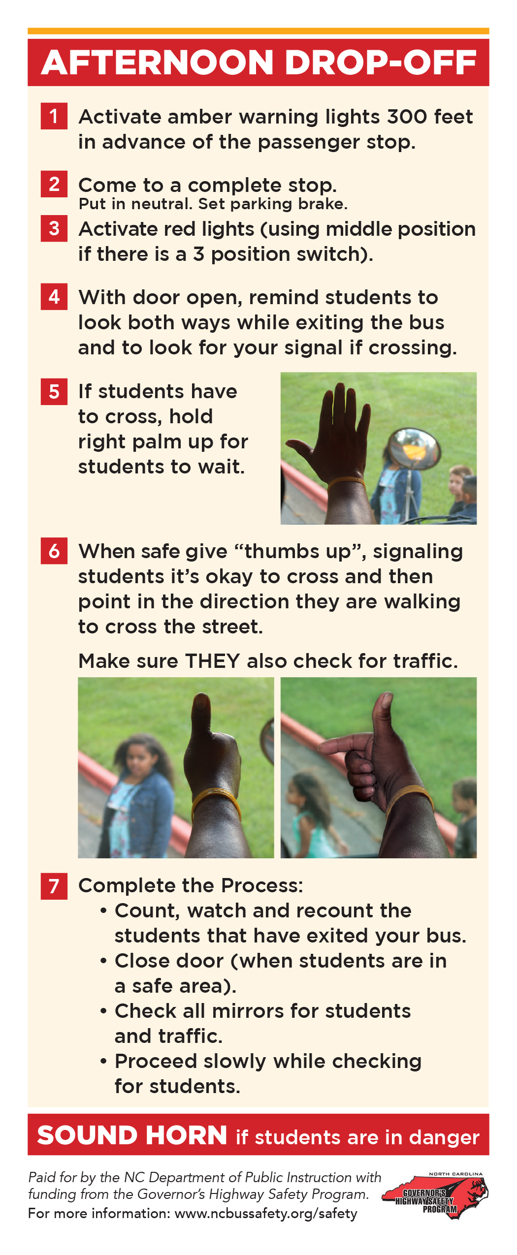 School Bus Driver Hand Signals For Students To Look For First