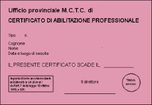 Certificato Abilitazione Professionale