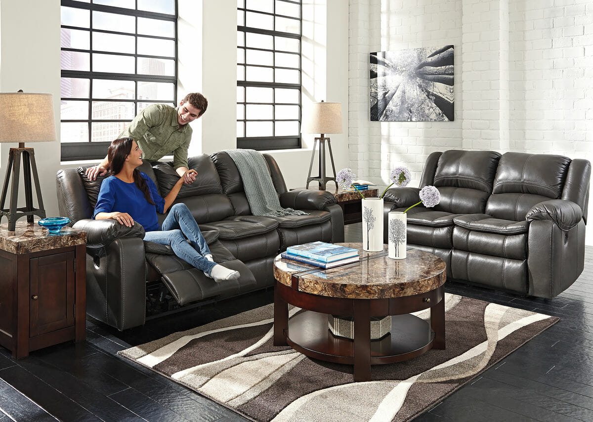 long knight gray reclining power sofa reclining power loveseat round lift top cocktail table 2 chair side end tables
