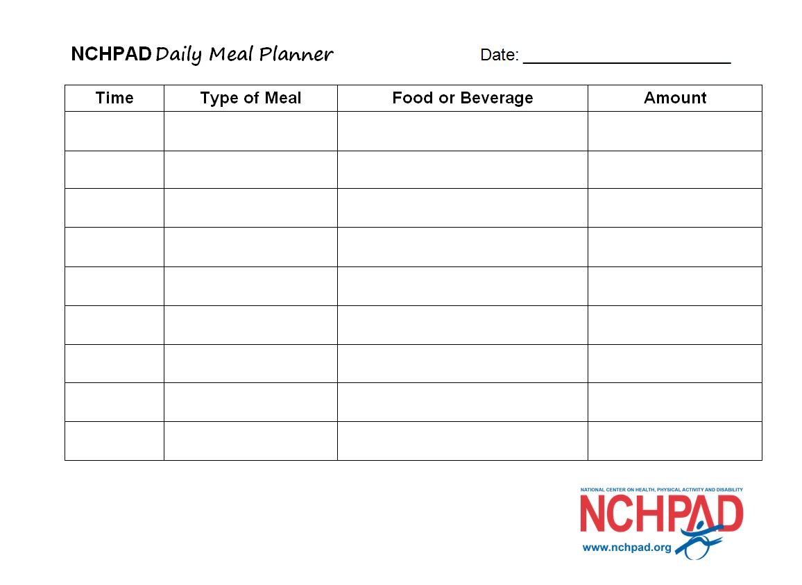 Nchpad Daily Meal Planner Template Nchpad