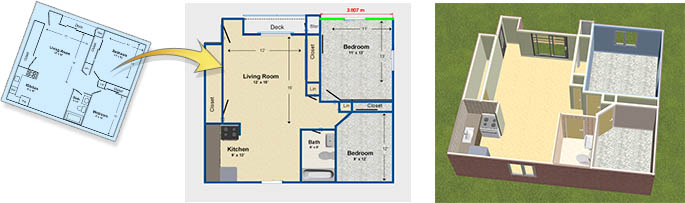 Use trace mode to import existing floor plans