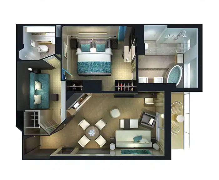 ノルウェージャンクルーズライン ザ・ヘブン 2ベッドファミリースイート フロアプラン The Haven's 2-Bedroom Family Villa with Balcony Floor Plan on Norwegian Breakaway