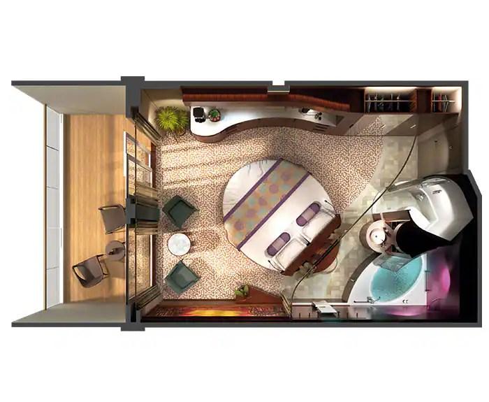 ノルウェージャンクルーズライン ザ・ヘブン コートヤードペントハウス フロアプラン The Haven's Courtyard Penthouse with Balcony on Norwegian Epic Floor Plan