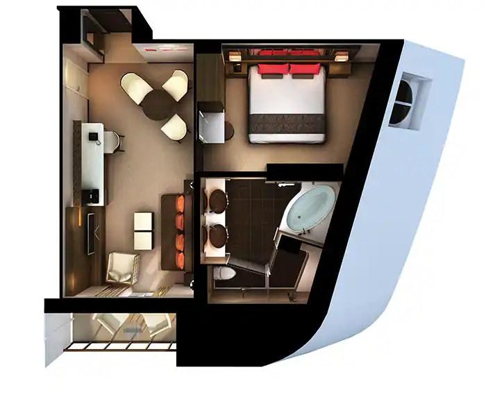 ノルウェージャンクルーズライン ザ・ヘブン 船首に面したたペントハウス フロアプラン The Haven's Forward-Facing Penthouse Floor Plan on Norwegian Escape