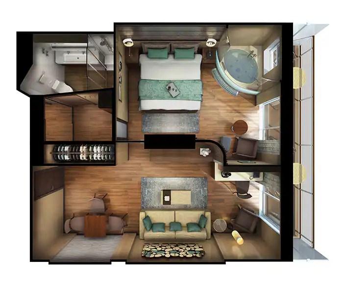 ノルウェージャンクルーズライン ザ・ヘブン デラックススパスイート フロアプラン The Haven's Deluxe Spa Suite with Balcony Floor Plan on Norwegian Escape