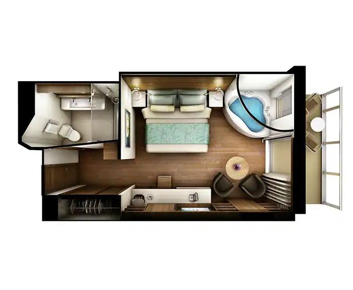 ノルウェージャンクルーズライン ザ・ヘブン スパスイート フロアプラン The Haven's Spa Suite with Balcony Floor Plan on Norwegian Escape